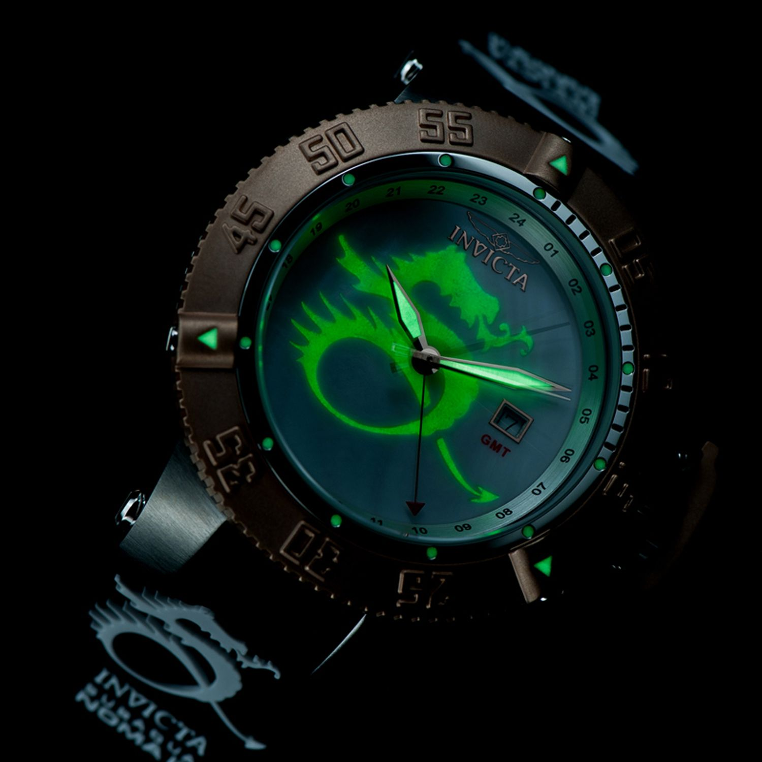 27 - Invicta Men's Subaqua Noma III Lume Dragon Quartz GMT Strap Watch