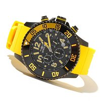INVICTA MEN'S PRO DIVER QUARTZ CHRONOGRAPH CARBON FIBER DIAL PU STRAP WATCH