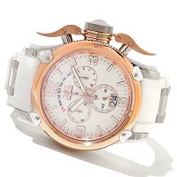 INVICTA MEN'S RUSSIAN DIVER SWISS MADE QUARTZ CHRONO PU STRAP WATCH