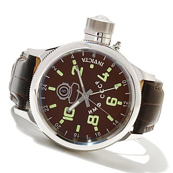 621-562 - Invicta Men's Russian Diver Quartz GMT Stainless Steel Alligator Strap Watch