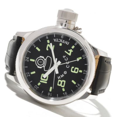 621-563 - Invicta Men's Russian Diver Quartz GMT Alligator Strap Watch