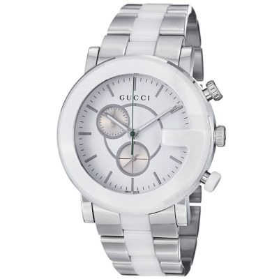 621-593 - Gucci Men's '101G' Swiss Made Quartz Stainless Steel & Ceramic Bracelet Watch