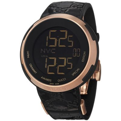 621-598 - Gucci Men's 'I Gucci' Swiss Made Quartz Black Digital Dial Strap Watch