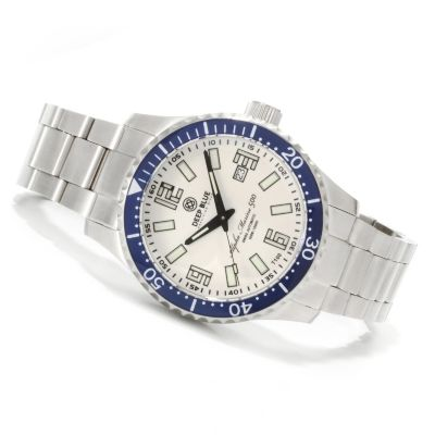 621-700 - Deep Blue Men's Alpha Marine 500 Swiss Automatic Lume Dial Stainless Steel Bracelet Watch