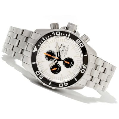 621-702 - Deep Blue Men's T-100 Tritium Recon 65 Valjoux 7750 Stainless Steel Bracelet Watch