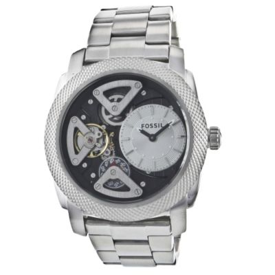 621-949 - Fossil Men's Twist Skeleton Quartz Stainless Steel Bracelet Watch