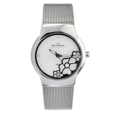622-005 - Skagen Women's Steel Quartz Flower Embossed Stainless Steel Bracelet Watch