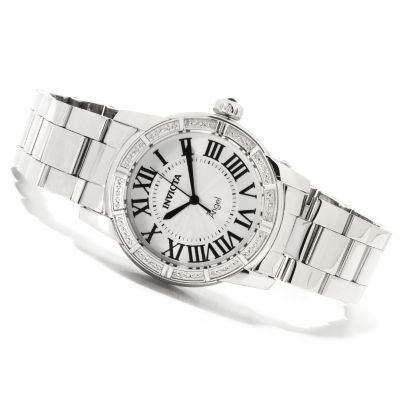 622-246 - Invicta Women's Angel Quartz Diamond Accented Bezel Stainless Steel Bracelet Watch