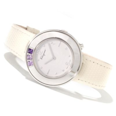 622-287 - Ferragamo Women's Gancino Sparkling Swiss Made Quartz Leather Strap Watch