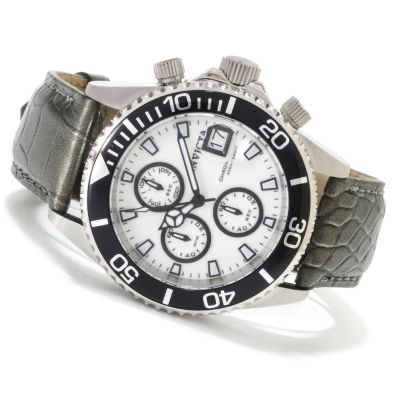 622-383 - Invicta Mid-Size Pro Diver Quartz Chronograph Lume Dial Alligator Strap Watch