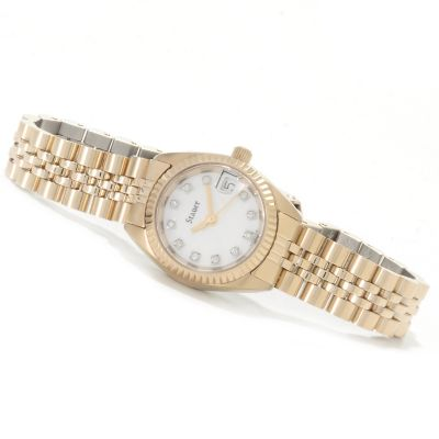 622-522 - Stauer Women's Diamond Accented Mother-of-Pearl Stainless Steel Bracelet Watch