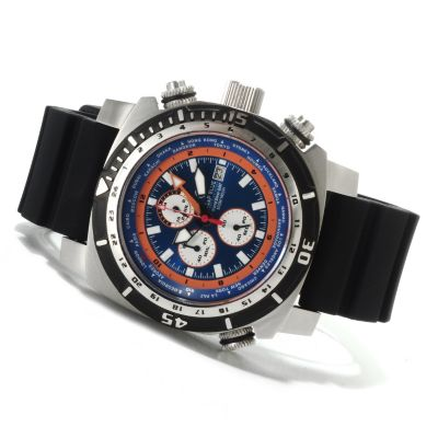 622-532 - Deep Blue Men's World Diver GMT Quartz Chronograph Stainless Steel Strap Watch
