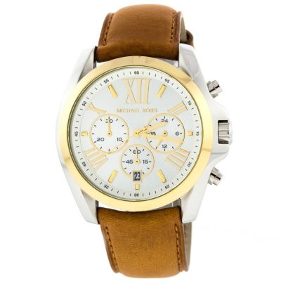 622-546 - Michael Kors Women's Bradshaw Quartz Chronograph Two-tone Case Leather Strap Watch