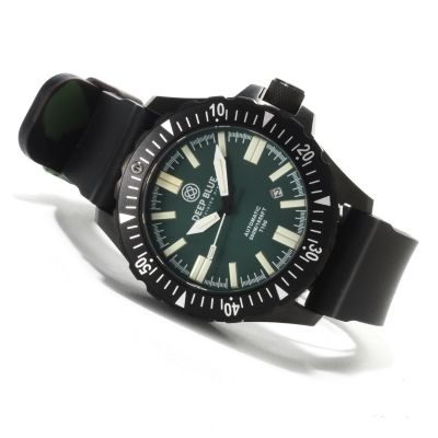 622-623 - Deep Blue Men's T-100 Tritium Military Diver Automatic Strap Watch