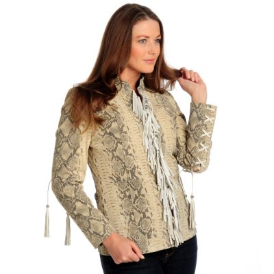 700-029 - Pamela McCoy Animal Printed Suede Jacket w/ Fringe Detail