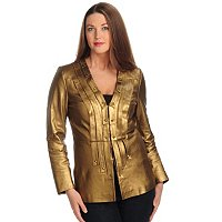 PAMELA MCCOY V-NECK LEATHER JACKET WITH LEATHER STRIPS AND SQUARE EMBELLISHMENT