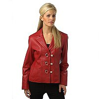 "23"" LAMB NOTCHED COLLAR JACKET W/EYELET DETAIL"