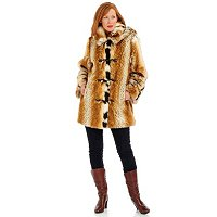 PAMELA MCCOY FAUX FUR TOGGLE CLOSURE HOODED COAT