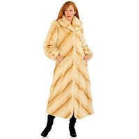 PAMELA MCCOY FAUX FUR SHAWL COLLAR COAT WITH ELASTIC CUFF