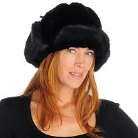 PAMELA MCCOY FAUX FUR TRAPPER HAT WITH DRAWSTRING