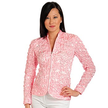 701-485 - aDRESSing WOMAN Crinkle Charmeuse Sequin Embellished Zip Front Jacket
