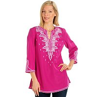 DANIEL KIVIAT PRIMO PEACH SKIN EMBROIDERED TUNIC