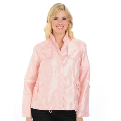 701-589 - Judy Crowell Water Resistant Mandarin Collar Zip & Snap Front Jacket