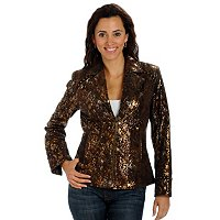 PAMELA MCCOY COLLECTION PRINTED SUEDE MOTORCYCLE JACKET W/SUEDE & STUD TRIM