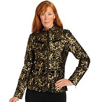 PAMELA MCCOY COLLECTION SUEDE ZIP FRONT JKT W/JEWL NECK & BELT DETAILING