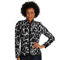 ADRESSING WOMAN ANIMAL PRINT ZIP FRONT SHIMMER JACKET
