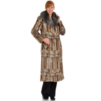 702-041 - Pamela McCoy Shawl Collar Apache Faux Fur Coat
