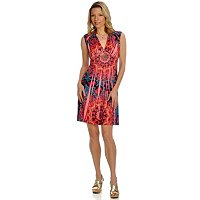 ONE WORLD MICROJERSEY CAP SLEEVE EMPIRE WAIST DRESS WITH V-NECK & BLING INSET