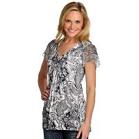 ONE WORLD MICROJERSEY STRECH V-NECK TOP WITH LACE BACK & BLING DETAIL