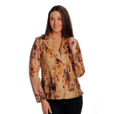 702-125 - Pamela McCoy Printed Leather Two Button Blazer with Flange Detail