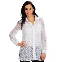 GENEOLOGY CONVERTIBLE SLEEVE STRETCH LACE BIG SHIRT & TANK SET
