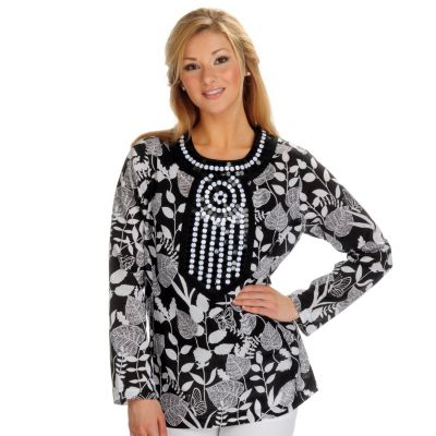 702-154 - VICTOR by Victor Costa Floral Print Cotton Tunic w/Sequin Detail