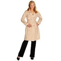 VICTOR COSTA COTTON EYELET TRENCH COAT