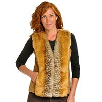 PAMELA MCCOY FAUX FUR VEST WITH FAUX SUEDE BACK
