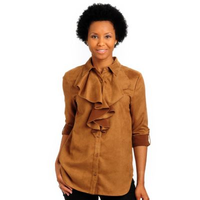 702-180 - Pamela McCoy Button Front Washable Faux Suede Poet Shirt