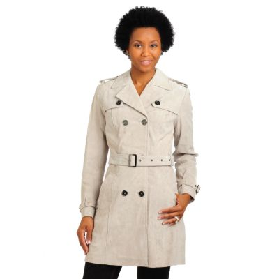702-182 - Pamela McCoy Belted Washable Suede City Trench Coat