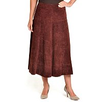 PAMELA McCOY WASHABLE SUEDE ANKLE LENGTH SKIRT W/DIAGONAL SEAMING