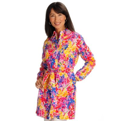 702-193 - Geneology Stretch Woven Floral Print Shirt Dress w/Matching Tie