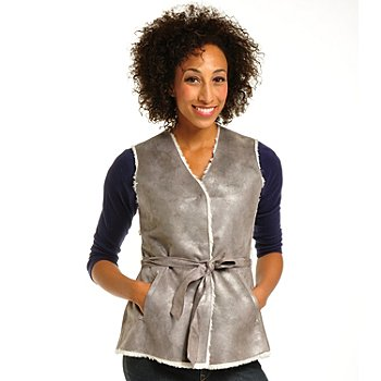 702-228 - OSO Casuals Iridescent Faux Shearling Self Belted Reversible Vest