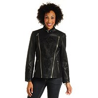 PAMELA MCCOY LEATHER CITY JACKET WITH EMBROIDERY