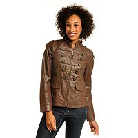 GENEOLOGY WASHABLE LEATHER MILITARY JACKET WITH ZIP FRONT