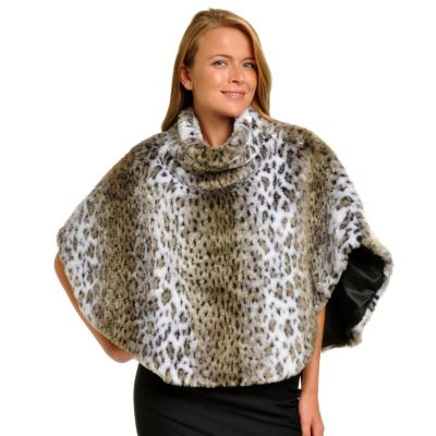 702-250 - WD.NY Faux Fur Animal Print Cowl Neck Poncho