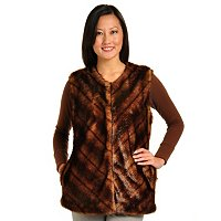PAMELA MCCOY CHEVRON FAUX FUR VEST W/CREW NECKLINE AND SPLIT POCKETS