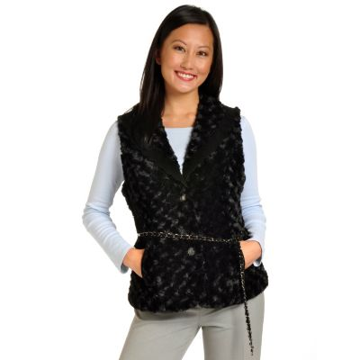 702-257 - Pamela McCoy Chain Belt Perforated Suede Trimmed Angora Faux Fur Vest