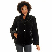 PAMELA MCCOY QUILTED YOKE & STAND COLLAR BEAVER FAUX FUR JACKET