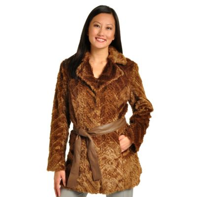 702-259 - Pamela McCoy Belted Notch Collar Beaver Faux Fur Coat